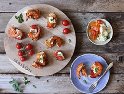 Prawn, Tomato and Mozzarella Bruschetta